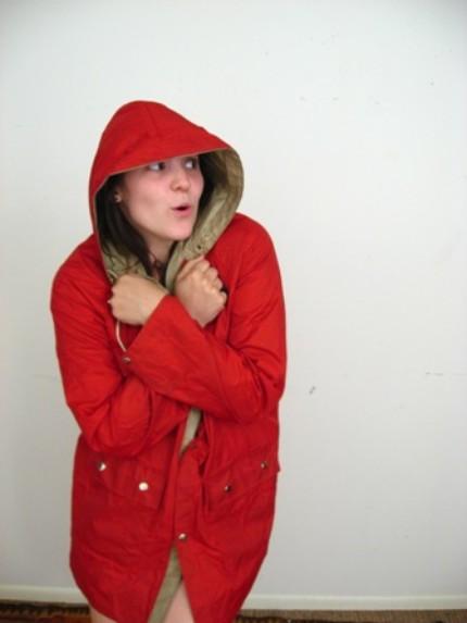 red rain slicker