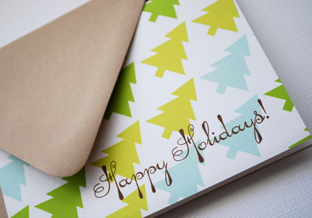 happy holidays - tree pattern, set of 8, by in-vita paper studio