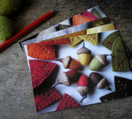 a handcrafted autumn postcards by lil fish studios