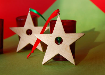 holiday star small maple ornament by three dots