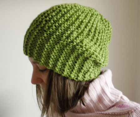 lime green slouchy beanie by moocow handknits
