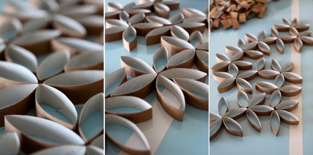Flower wall art diy paper and stitch for Flowers made out of toilet paper rolls