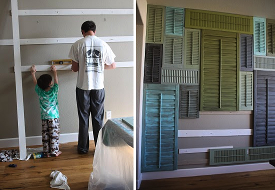most clever accent wall idea shutter wall insanity duh paper