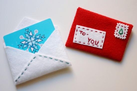 diy festive felt gift card envelope