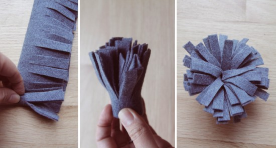 Cutting and wrapping felt to make felt flowers