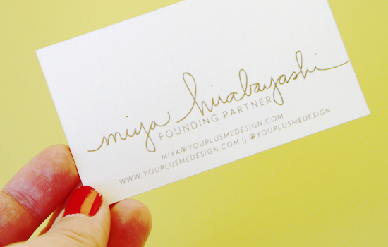 Bring it business card inspiration paper and stitch love the signature on miyas card and the gold this is actually the back of the card but its my favorite part miya is one of the founding partners at colourmoves