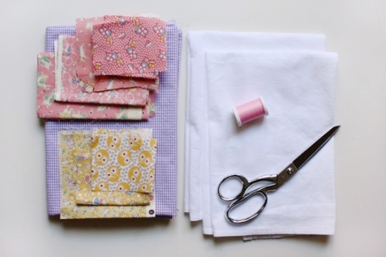 How to applique the easy way: spring time tea towel diy paper and