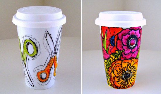 Hand Painted Travel Coffee Mugs ...