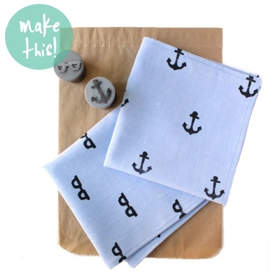 Hand-Stamped Handkerchiefs