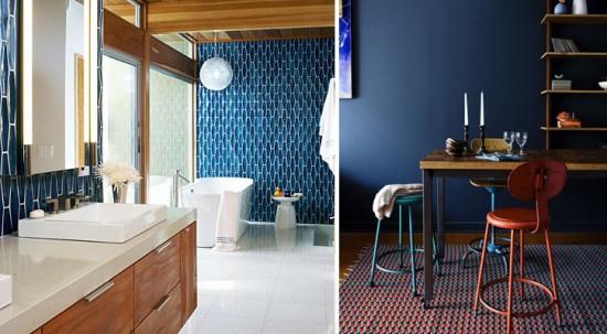 Blue Ceramic Tile + Navy With Orange