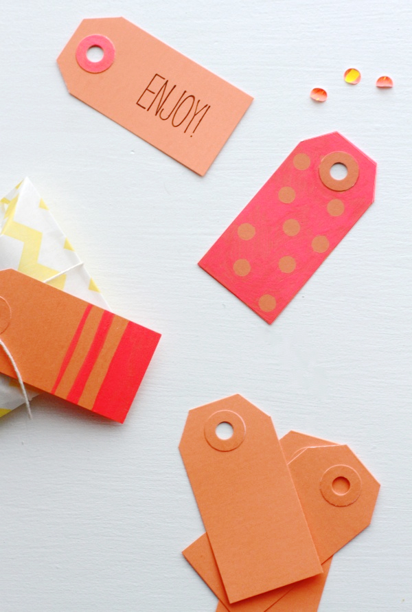 Diy Neon Color Block Gift Tags Paper And Stitch