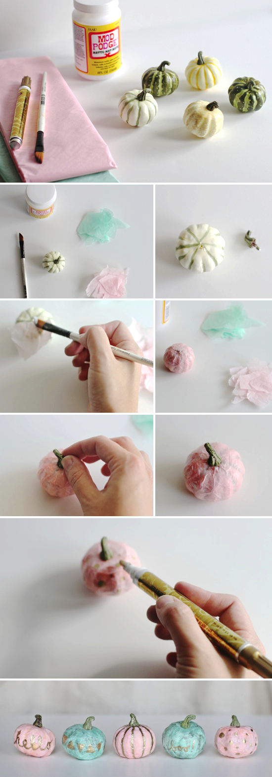 Halloween Diy How To Make Tissue Paper Mini Pumpkins Paper And Stitch