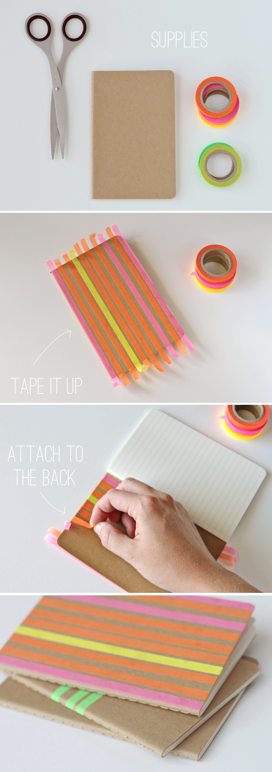 Make This: Striped Notebooks DIY in One Minute or Less - Paper and Stitch