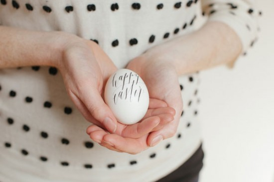 decorated easter eggs diy: calligraphy