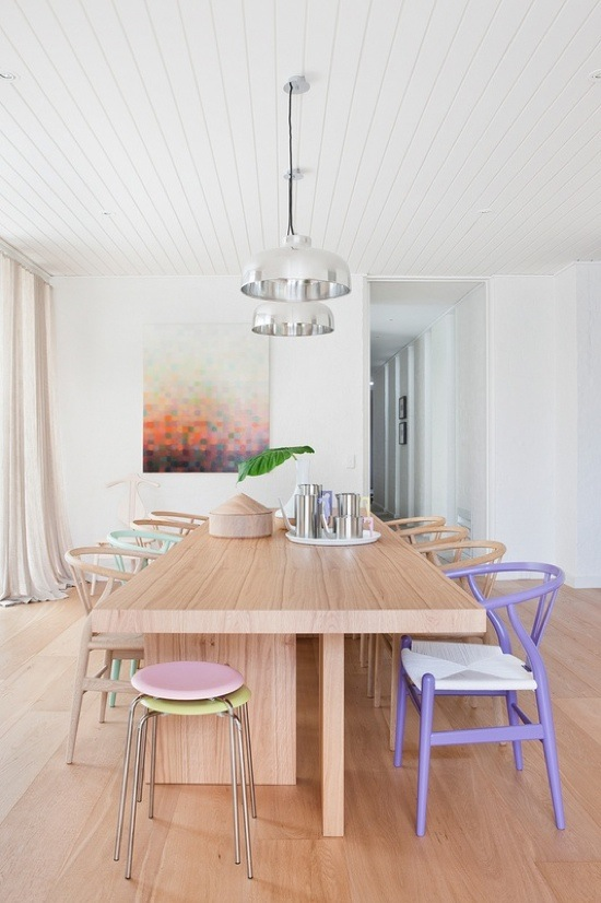 pastel interiors (multi colored seating)