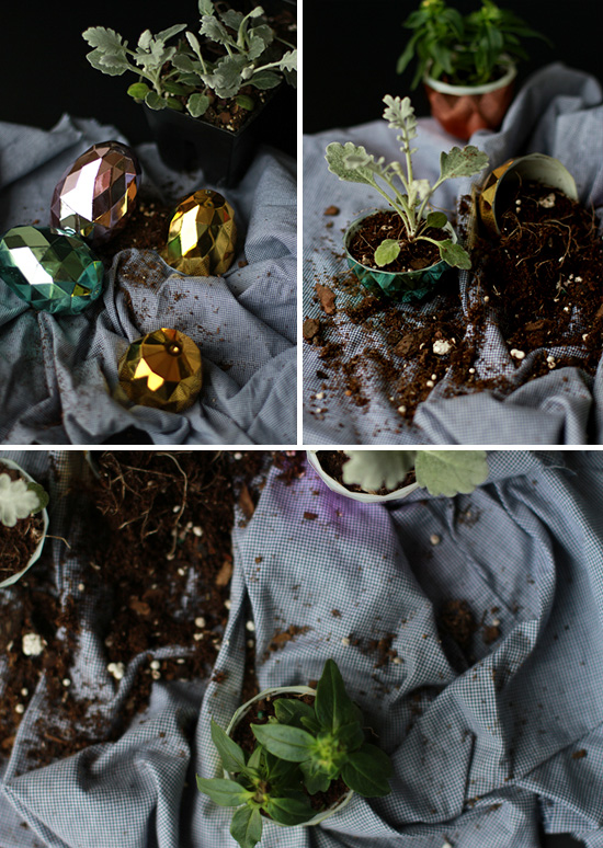 easter diy: pot a plant inside plastic easter eggs