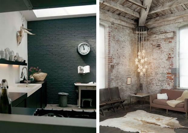 dark painted brick wall used brick corner. Black Bedroom Furniture Sets. Home Design Ideas