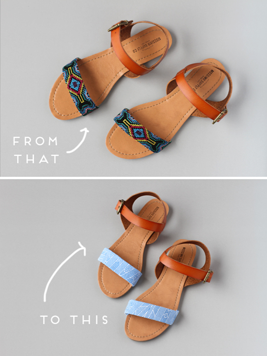 Make This: DIY Fabric Sandal Makeover - Paper and Stitch