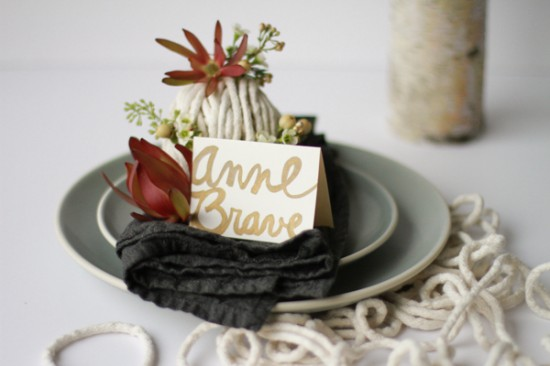 wedding diy // floral rope ball place setting