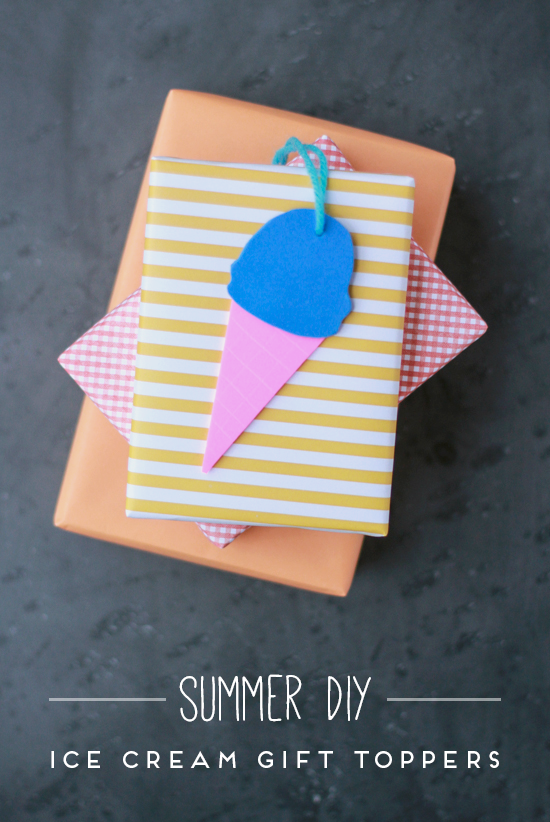 DIY // ice cream cone gift toppers