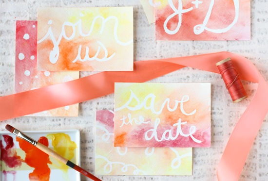 watercolor postcard diy