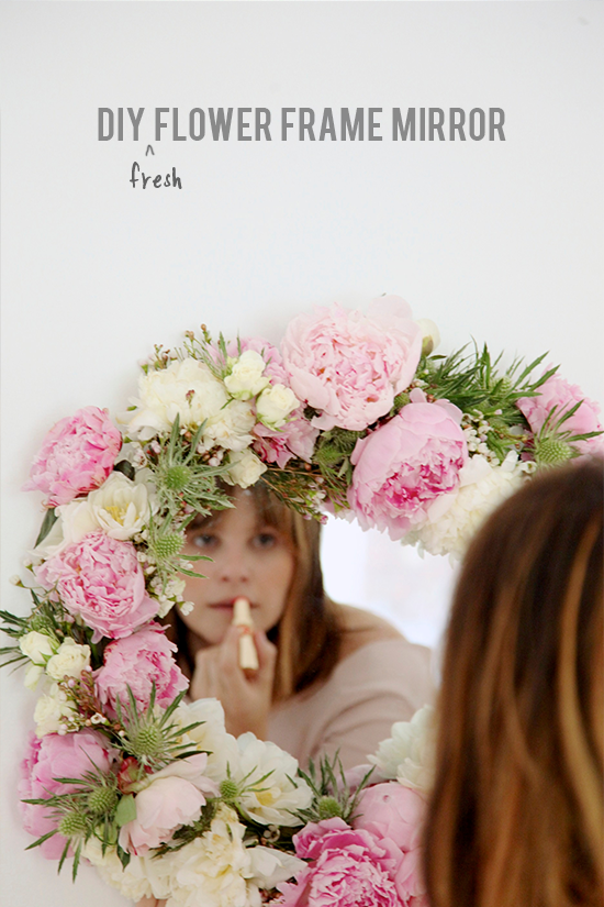 DIY // fresh flower frame mirror