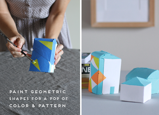 painted geometric houses DIY