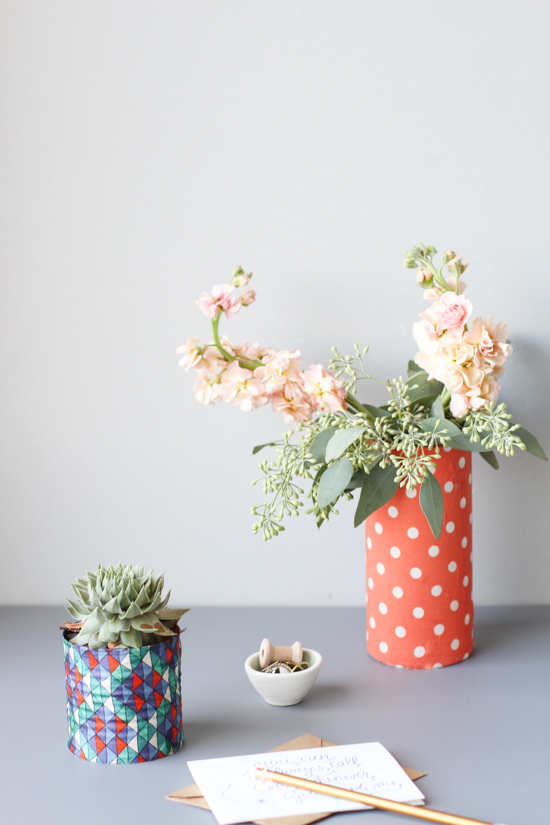 DIY vases made from recycled cans