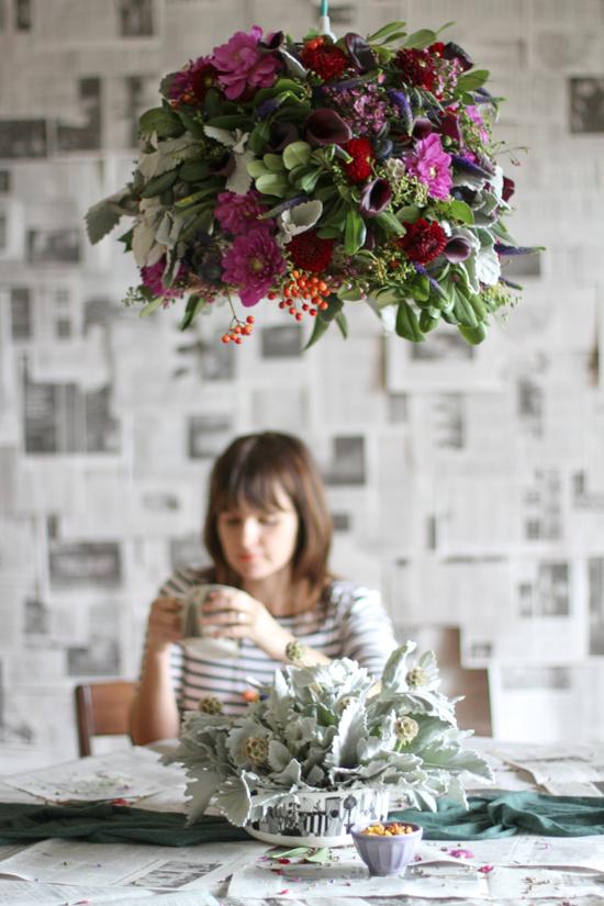 fresh flower lampshade DIY