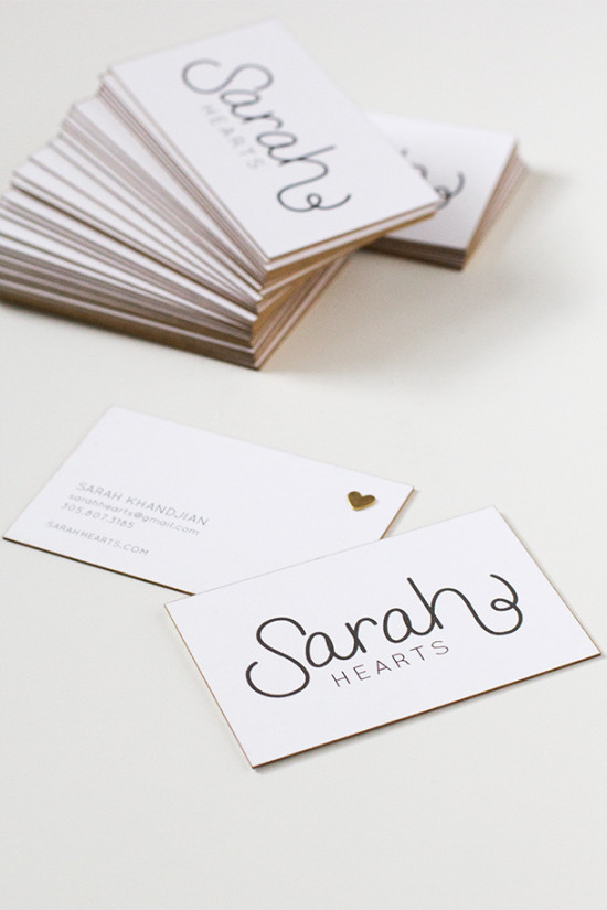 gold edge business cards from Sarah Hearts
