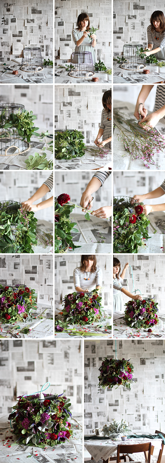 DIY // flower pendant light with www.flowermuse.com
