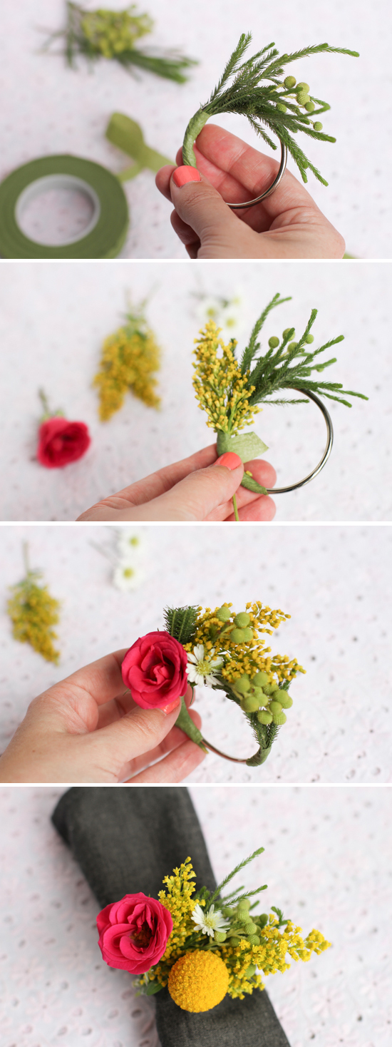 wedding DIY // fresh flower napkin ring