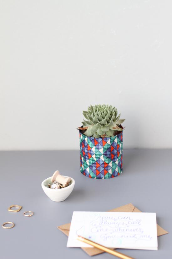 geometric fabric vase diy