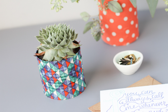 upcycled can to fabric flower vases