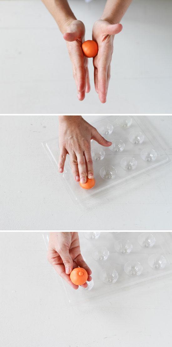 molded clay pumpkins DIY