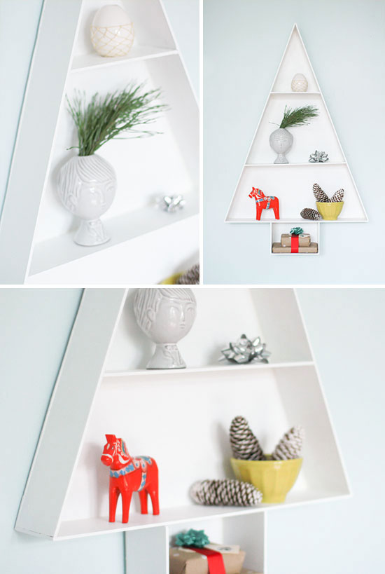 Make This: modern wood Christmas tree hanging shelf