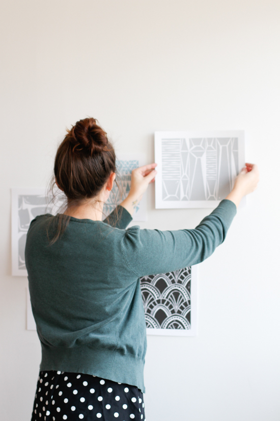Hanging prints in a cluster