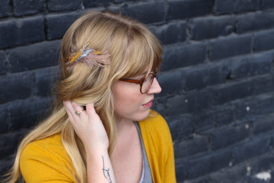 Holiday Gift DIY // feather barrette
