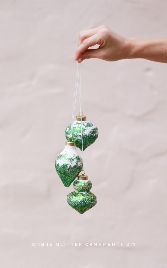 DIY // ombre glitter ornaments