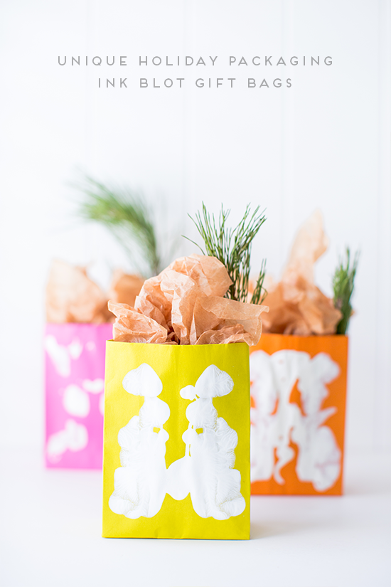 Holiday Packaging DIY // ink blot gift bags