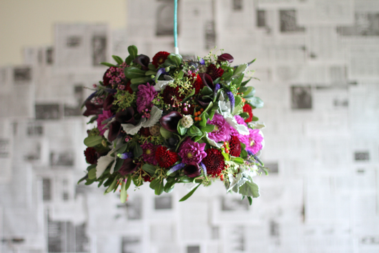 live flower lampshade project // horizontal