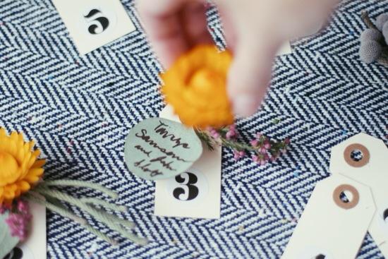 DIY Idea: flower + eucalyptus escort cards