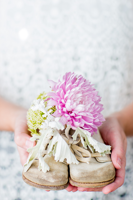 Baby Shoe Vase Centerpiece Idea