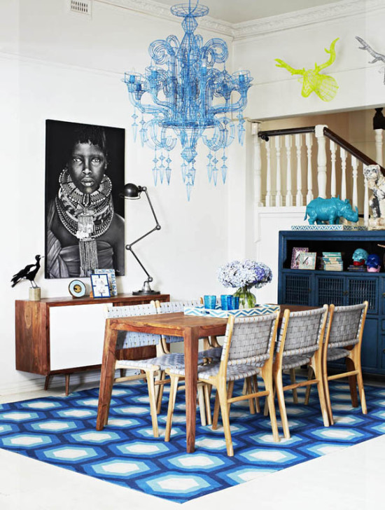 great patterned rug and dining room