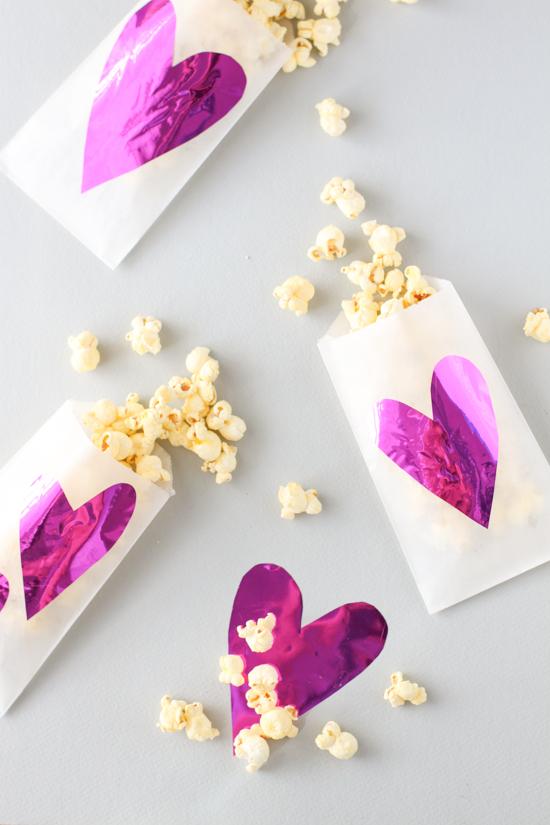 DIY mylar and glassine heart bags for V-Day