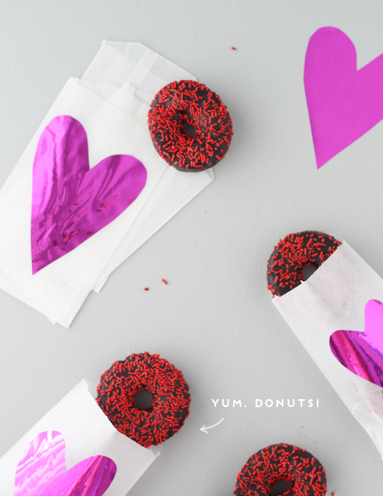 valentine DIY // mylar + glassine donut treat bags