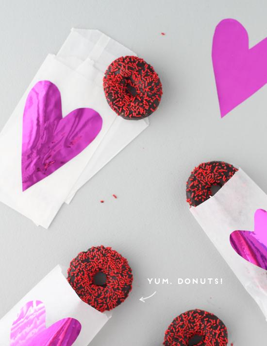 valentine DIY // mylar + glassine donut treat bags
