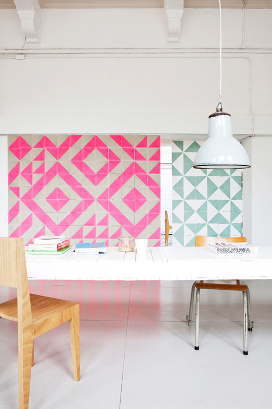 hot pink and mint green wall patterns