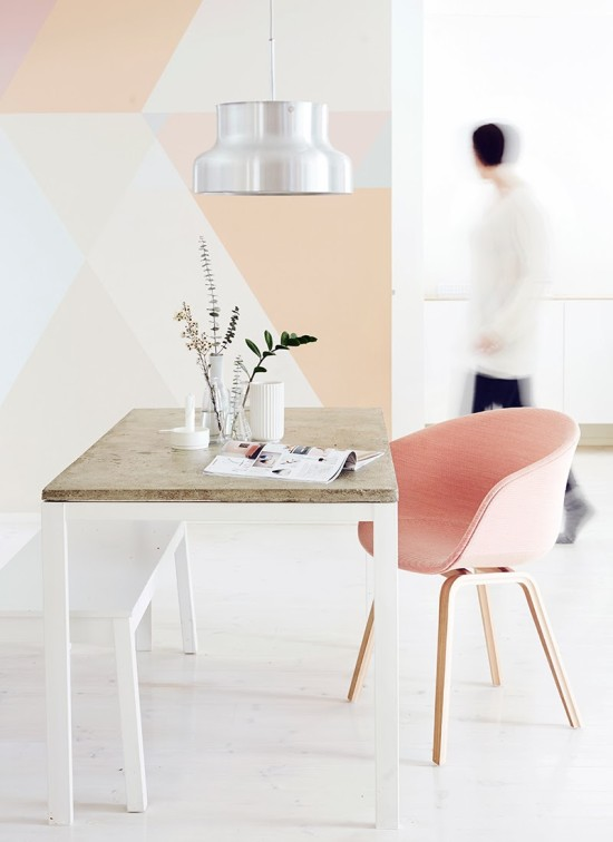 pretty + modern / geometric painted wall