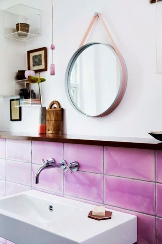 pink tile in a cool scandi bathroom